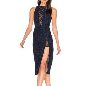 X by NBD Maggie Dress in navy blue lace-up
